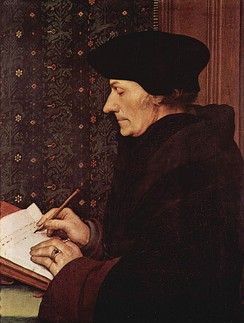 Desiderius Erasmus by Holbein; Renaissance humanist and influential critic of religious orders. Louvre, Paris.