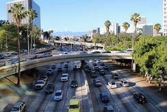 Rush hour on the Harbor Freeway, Downtown