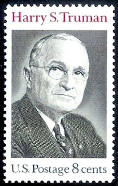 Stamp issued in 1973, following Truman's death. Truman has been honored on five U.S. postage stamps, issued between 1973 and 1999.[288]