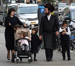 Hasidic family on the street in Borough Park, Brooklyn