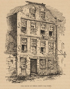 The house in which Swift was born; 1865 illustration