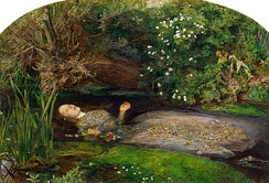 Ophelia by John Everett Millais (1852) is part of the Tate Gallery collection. His painting influenced the image in Kenneth Branagh's Hamlet