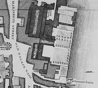 The Old Palace was a complex of buildings, separated from the River Thames in the east by a series of gardens. The largest and northernmost building is Westminster Hall, which lies parallel to the river. Several buildings adjoin it on the east side; south of those and perpendicular to the Hall is the mediaeval House of Commons. Further south and parallel to the river is the Court of Requests, with an eastwards extension at its south end, and at the south end of the complex lie the House of Lords and another chamber. The Palace was bounded by St Margaret's Street to the west and Old Palace Yard to the south-west; another street, New Palace Yard, is just visible to the north.