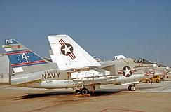 "A-7A of VA-203, the ""Blue Dolphins"", at NAS Jacksonville Florida in 1976"