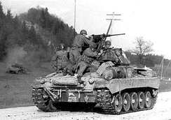 The new M24 Chaffee light tank that was issued to the 106th Cavalry in February 1945. Its 75 mm gun was vastly superior to the Stuart tank.