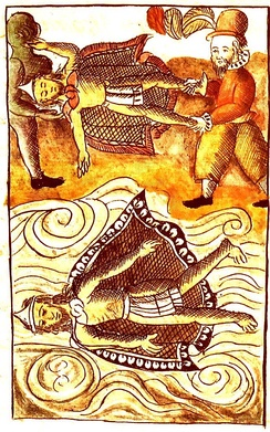 The death of Moctezuma, depicted in the Florentine Codex