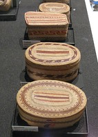 A set of traditional hand woven native Indian Nuu-chah-nulth peoples' baskets (Indigenous peoples of the Pacific Northwest Coast of Canada)