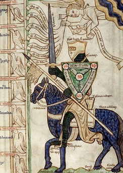 The miles Christianus allegory (mid-13th century), showing a knight armed with virtues and facing the vices in mortal combat. The parts of his armour are identified with Christian virtues, thus correlating essential military equipment with the religious values of chivalry:  The helmet is spes futuri gaudii (hope of future bliss), the shield (here the shield of the Trinity) is fides (faith), the armour is caritas (charity), the lance is perseverantia (perseverance), the sword is verbum Dei (the word of God), the banner is regni celestis desiderium (desire for the kingdom of heaven), the horse is bona voluntas (good will), the saddle is Christiana religio (Christian religion), the saddlecloth is humilitas (humility), the reins are discretio (discretion), the spurs are disciplina (discipline), the stirrups are propositum boni operis (proposition of good work), and the horse's four hooves are delectatio, consensus, bonum opus, consuetudo (delight, consent, good work, and exercise).