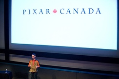 Pixar Canada creative director Dylan Brown speaking in November 2009 at the Vancouver Film School's Animation & Visual Effects Campus.[6]