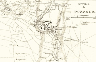 An 1819 map showing the opening stages of the battle