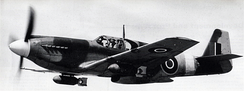 Frontal view of the RAF's A-36A EW998, showing that this aircraft did not have the nose-mounted .50 cal Brownings.