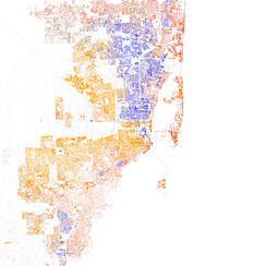 Map of racial distribution in Miami, 2010 U.S. Census. Each dot is 25 people: White, Hispanic, Black, Asian