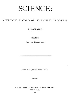 Cover of the first volume of the scientific journal Science in 1880.