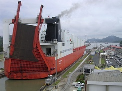 Roll-on/roll-off ships, such as this one pictured here at Miraflores locks, are among the largest ships to pass through the canal.