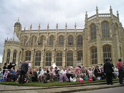 Members of the public outside St. George's Chapel at Windsor Castle, waiting for the Garter Procession