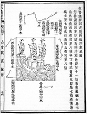 """Mao Kun map"", believed to be based on Zheng He's travels, showing sailing directions between ports of SE Asia and as far as Malindi, in Wu Bei Zhi (1628)"