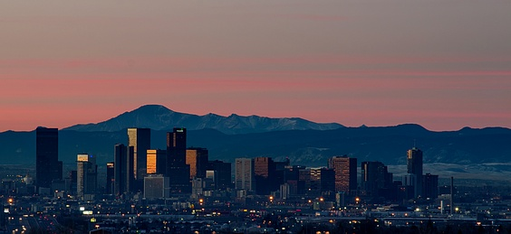 Dawn over downtown Denver and the Front Range to the south