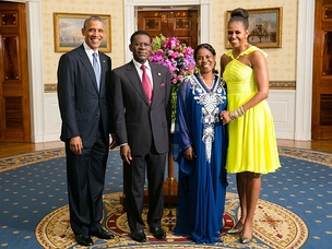 Obiang and U.S. President Obama with their wives in 2014