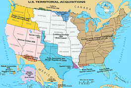 U.S. territorial acquisitions–portions of each territory were granted statehood since the 18th century.