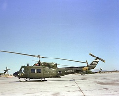 A Marine UH-1N on the flight line at NAS Whiting Field, Florida, 1982