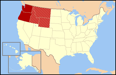 The two dark red states are almost always included, and the three striped states are usually considered part of the Northwestern United States as well.