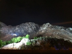Mount Uhud at night. The mountain is currently the highest peak in Medina and stands at 1,077 m (3,533 ft) of elevation.