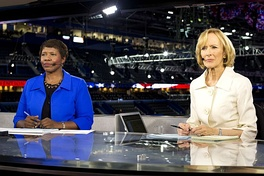 Gwen Ifill and Judy Woodruff at the 2012 Republican National Convention