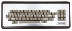 4800-52 mainframe / dumb terminal keyboard, circa mid 1980s. Note the obscure configuration of modifier and arrow keys, line feed key, break key, blank keys, and repeat key.