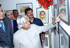 Dr Kalam visited the Indian Cartoon Gallery to inaugurate the exhibition of the cartoons by Shreyas Navare on January 10, 2010