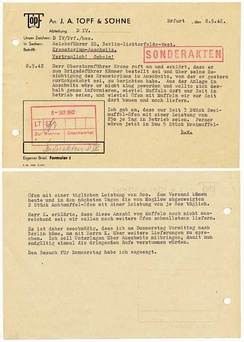 Internal memo 8 Sep 1942, regarding an order for Auschwitz ovens. See citation for a translation.[9]