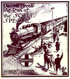 A promotional brochure for the Santa Fe Railway's Scott Special passenger train