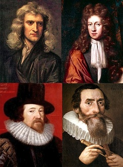 Set of pictures for a number of notable Scientists self-identified as Christians: Isaac Newton, Robert Boyle, Francis Bacon and Johannes Kepler.