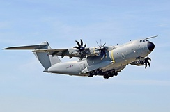 Airbus A400M Atlas transport aircraft of the Royal Air Force. First flight was in December 2009.