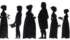 A silhouette of the Altenburg/Paus family, members of the Skien patriciate, shortly after the Napoleonic Wars. To the right Ibsen's mother Marichen Altenburg, her parents Hedevig Christine née Paus and ship-owner Johan Andreas Altenburg in the centre, to the left of Hedevig her nephew Henrik Johan Paus, who was not only Marichen Altenburg's cousin, but also the half brother of Knud Ibsen, and who grew up with his uncle and aunt