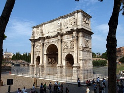 Arch of Constantine, it was erected by the Roman Senate to commemorate Constantine I's victory over Maxentius at the Battle of Milvian Bridge in 312.