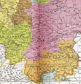 The Duchy of Bavaria (Bajovaria), Margravate of Ostarrichi and the Duchy of Carantania c. 1000 AD.