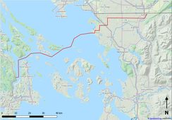 Approximate route of the proposed pipeline.