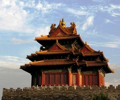 One of the corner towers of the Forbidden City, which was built by Emperor Yongle in Ming dynasty.