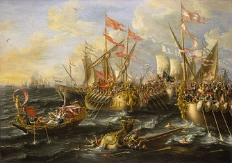 The Battle of Actium, by Laureys a Castro, painted 1672, National Maritime Museum, London