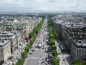 The Champs-Elysées seen from the Arc de Triomphe.
