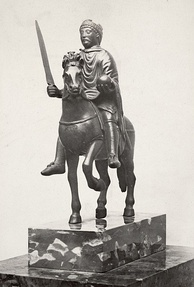 The Carolingian-era equestrian statuette thought to represent Charlemagne (from Metz Cathedral, now in the Louvre)