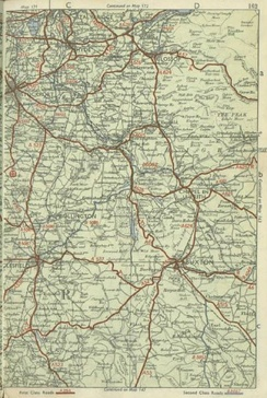 Early 1950s pre-motorway map showing the old routes of local roads including the A624