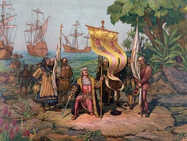Italian explorer Christoper Columbus arrives in America and takes possession of Guanahani