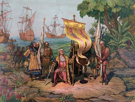 Christopher Columbus arriving in the New World carrying a banner with the initials of Ferdinand II and Isabella I.