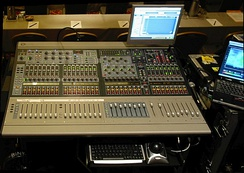 Digidesign's Venue Profile mixer on location at a corporate event. This digital mixer allows plugins from third-party vendors