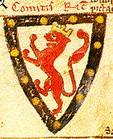 Left: Seal (verso side) of Richard of Cornwall, showing his arms; right his arms: Argent, a lion rampant gules crowned or a bordure sable bezantée as drawn by his contemporary Matthew Paris (d.1259)[6]
