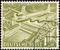 1949 stamp from West Berlin with a Douglas C-54 Skymaster over Tempelhof airport