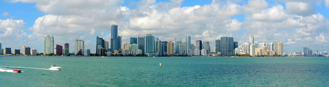 Downtown Miami seen from the Rusty Pelican restaurant on Virginia Key