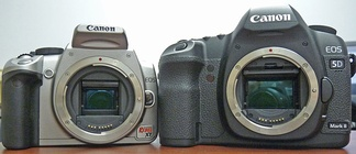 An APS-C format SLR (left) and a full-frame DSLR (right) show the difference in the size of the image sensors.
