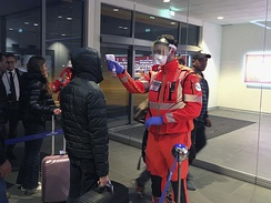 Civil Protection volunteers conduct health checks at the Guglielmo Marconi Airport in Bologna on 5 February.